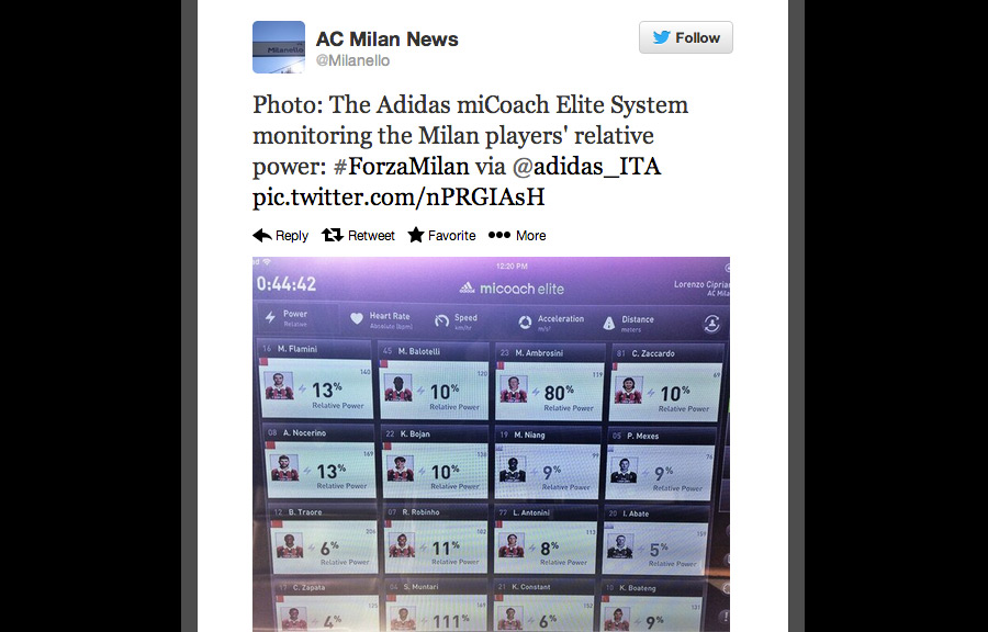 A Twitpic from AC Milan News when it was first rolled out for non-game situations (training camp, practice, etc.).