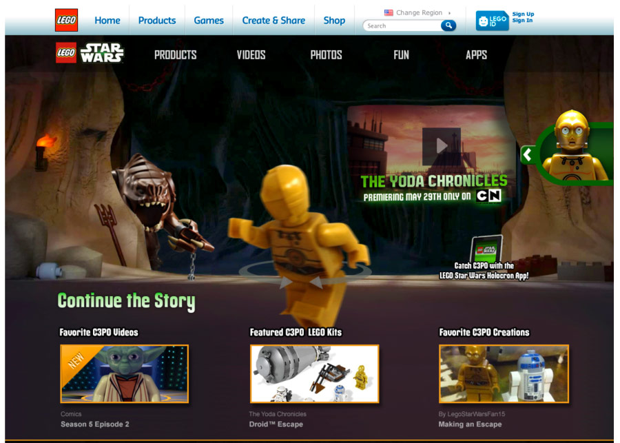 The same page as above, but with C3PO selected. Users could navigate to this page from the above Yoda page, or could arrive here by clicking on any OLA featuring C3PO.