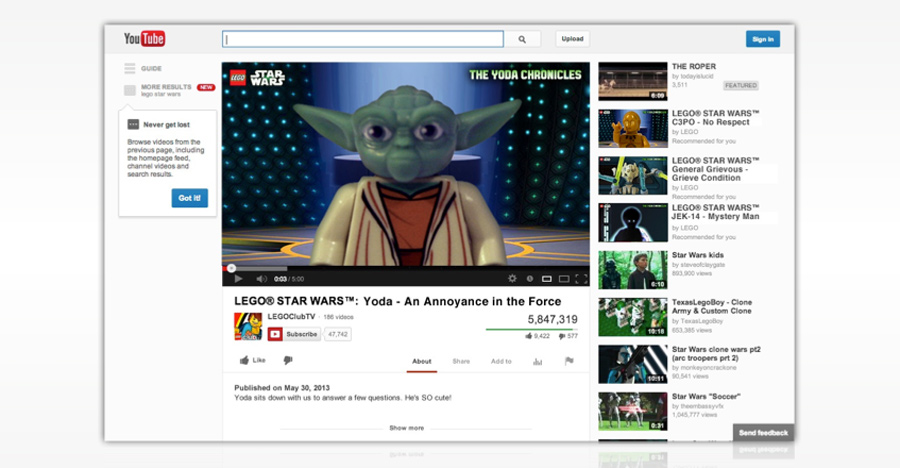 A mock up of how the Yoda video would be distributed in the wild on YouTube (in contrast with solely releasing it through their branded channel, though that would also happen).