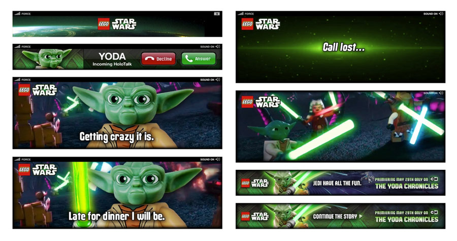 Yoda's expandable banner, as a storyboard.