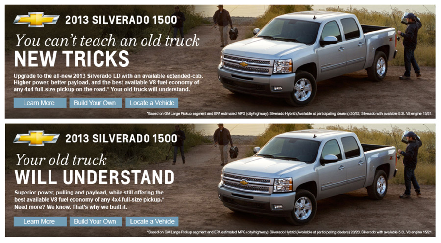 Silverado in-market ad, designed for the Amazon masthead slot.