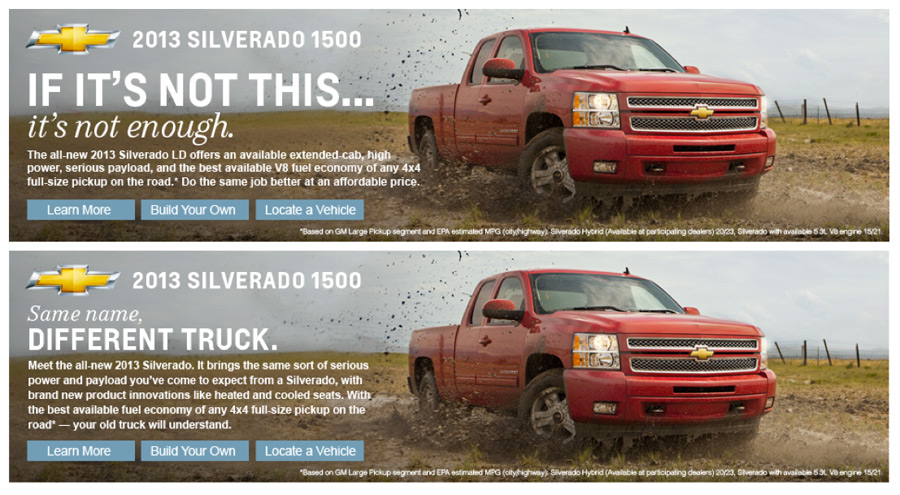 Another Silverado in-market ad, also designed for the Amazon masthead slot.