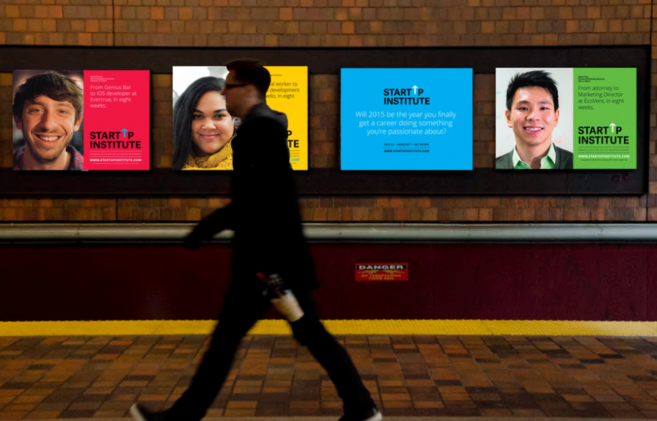 An in-situ mock-up of the MBTA (Boston) media buy for our Transitions campaign, which ran in five cities (Boston, Chicago, New York, Berlin, London) in January-February of 2015.
