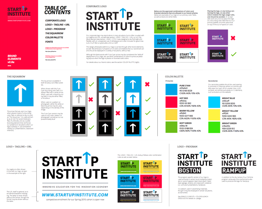 A few pages of Startup Institute's Brand Elements guide. The original brand drab, and duotone--after spending hours interviewing alumni, I knew that we needed to infuse a sense of energy and vibrancy into the aesthetic proportional to the love and exuberance that our students expressed when describing their experiences at SI.